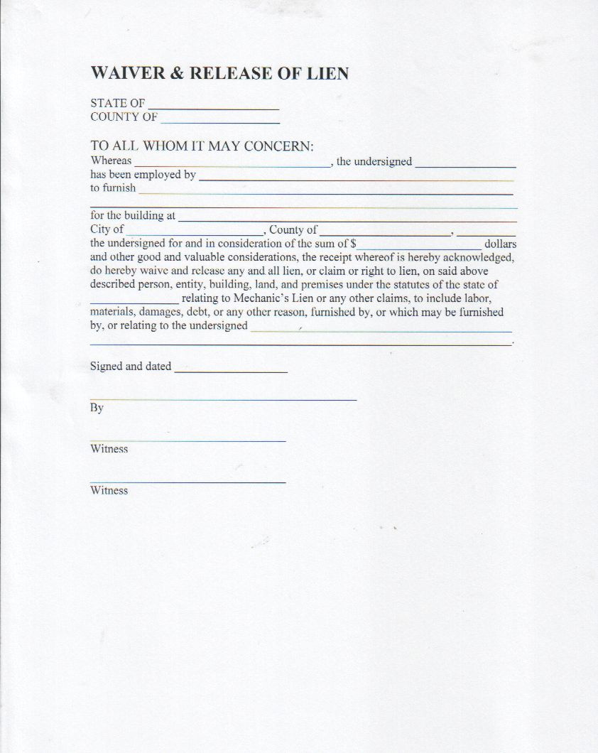 lien waiver form